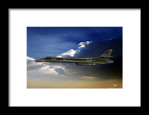 B-1b Framed Print featuring the digital art B-1b Lancer by Arthur Eggers