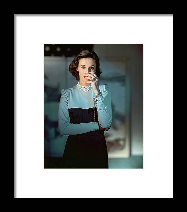 Society Framed Print featuring the photograph Babe Paley Wearing A Traina-norell Dress by Horst P. Horst