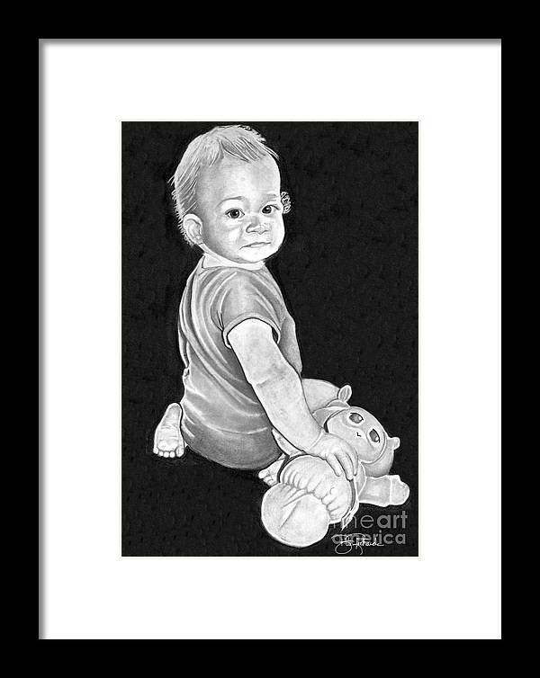 Pencil Framed Print featuring the drawing Baby by Bill Richards