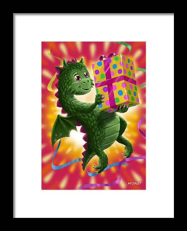 Dragon Framed Print featuring the digital art Baby Birthday Dragon With Present by Martin Davey