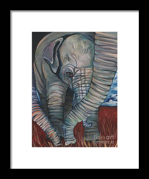 Baby Elephant Framed Print featuring the painting Baby Comfort by Aimee Vance