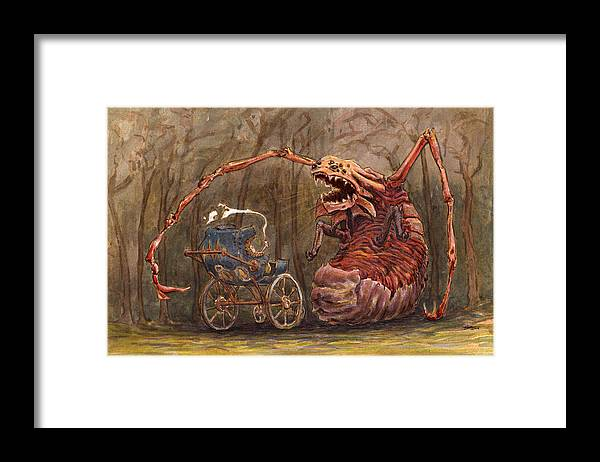 Monster Framed Print featuring the painting Baby Fight by Ethan Harris