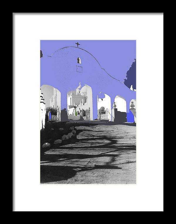 Back Entrance San Xavier Mission Tucson Arizona Ronald Reagan The Last Outpost Framed Print featuring the photograph Back North Entrance #2 Of San Xavier Mission Tucson Arizona 1979-2013 by David Lee Guss