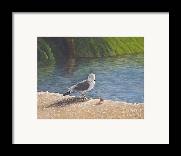 Sea Gull Framed Print featuring the painting Back Off by Cindy Lee Longhini