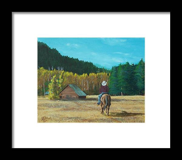 Landscape Framed Print featuring the painting Back To The Barn by Gene Ritchhart