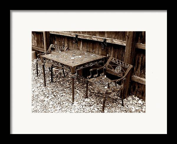 Iron Framed Print featuring the painting Back Yard Iron by Tom Riggs