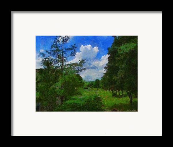 Back Yard Framed Print featuring the painting Back Yard View by Jeff Kolker