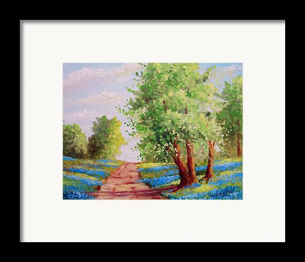 Bluebonnets Framed Print featuring the painting Backroad Bluebonnets by David G Paul
