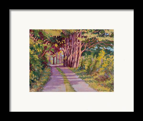 Road Framed Print featuring the painting Backroad Canopy by Keith Burgess