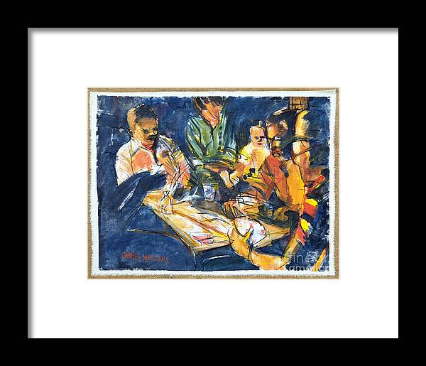 Card Framed Print featuring the painting Backyard Bid Whiss By Summer Night Light by Charles M Williams