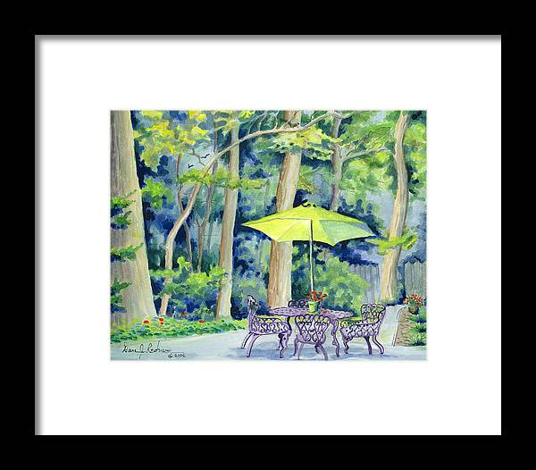 Watercolor Framed Print featuring the painting Backyard Retreat by Dan Redmon
