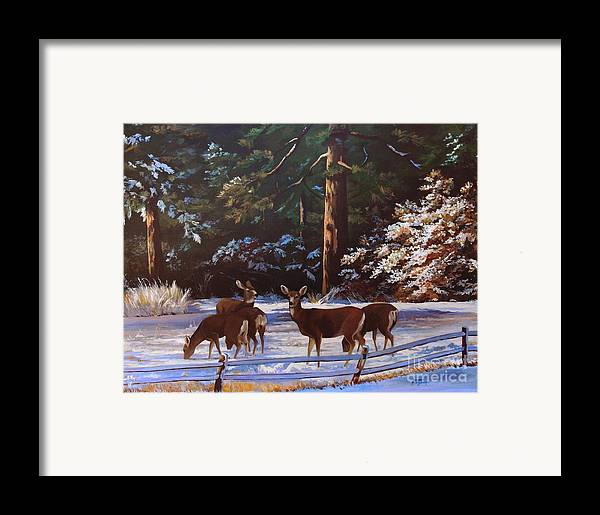 Deer Framed Print featuring the painting Backyard Visitors by Suzanne Schaefer