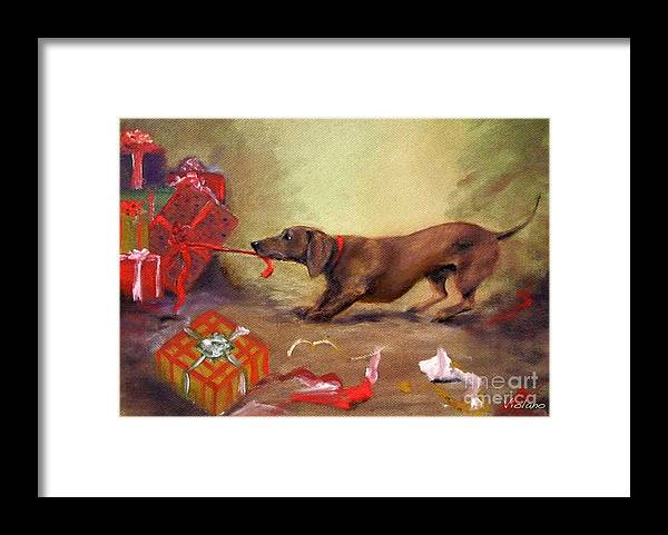 Doxie Framed Print featuring the painting Bad Dog Christmas by Stella Violano