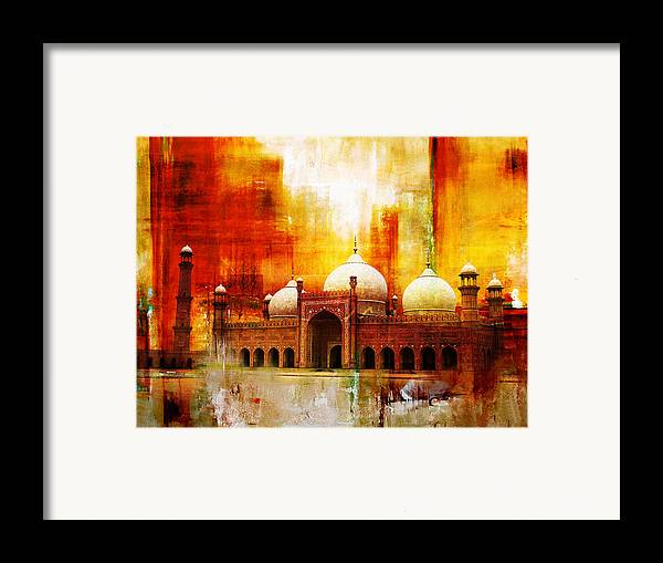 Pakistan Framed Print featuring the painting Badshahi Mosque Or The Royal Mosque by Catf