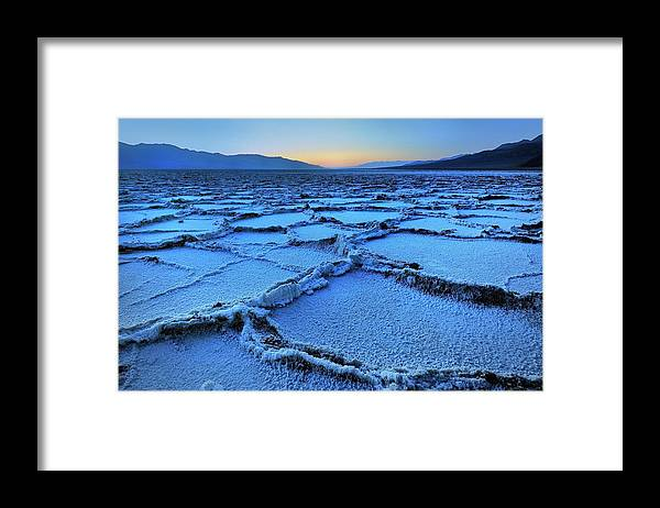 Tranquility Framed Print featuring the photograph Badwater Dusk, Death Valley, California by Joao Figueiredo