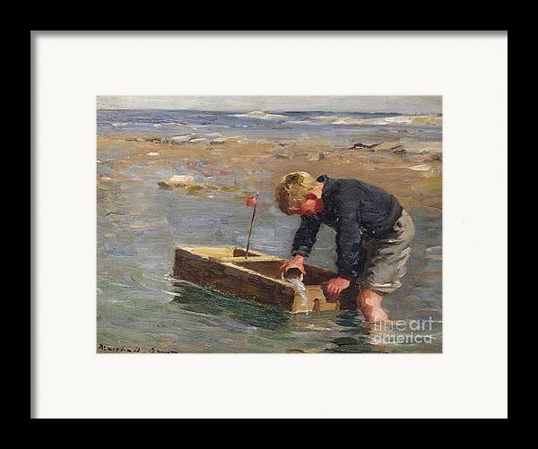 Signed Framed Print featuring the painting Bailing Out The Boat by William Marshall Brown