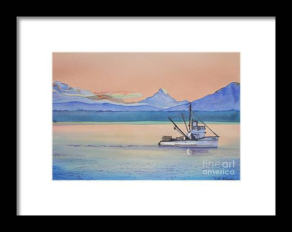 Puget Sound Framed Print featuring the painting Baker Sunrise by Amanda Schuster