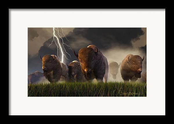 Buffalo Framed Print featuring the digital art Balance Of Power by Dieter Carlton