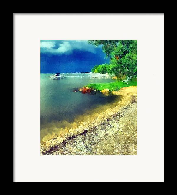 Odon Framed Print featuring the painting Balaton Lake Shore by Odon Czintos