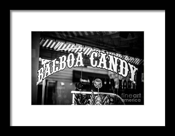 America Framed Print featuring the photograph Balboa Candy Sign On Balboa Island Newport Beach by Paul Velgos