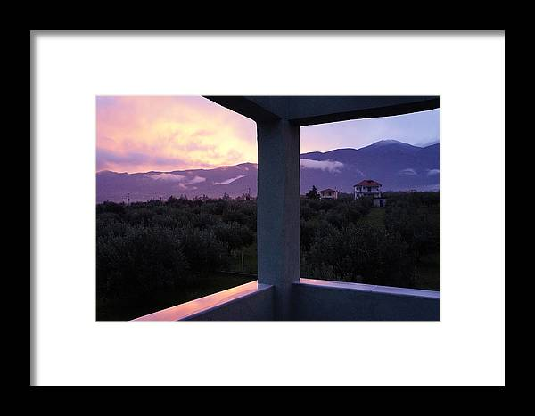 Sunset Framed Print featuring the photograph Balcony To Olympos by Andonis Katanos
