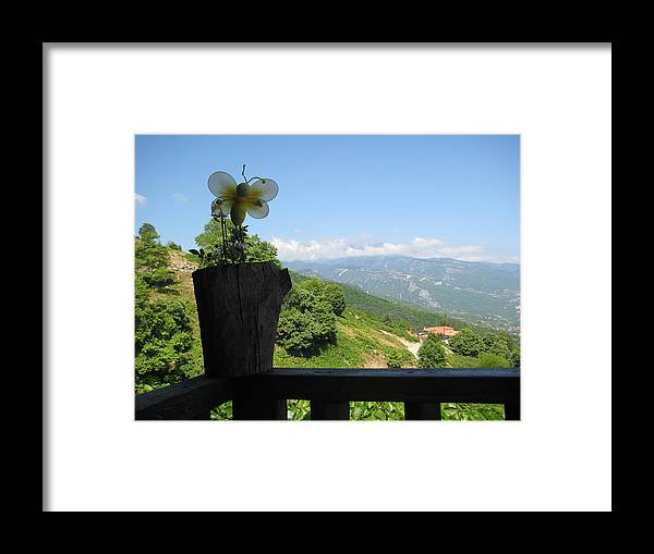 Flowers Framed Print featuring the photograph Balcony With A View by Panos Spiliadis