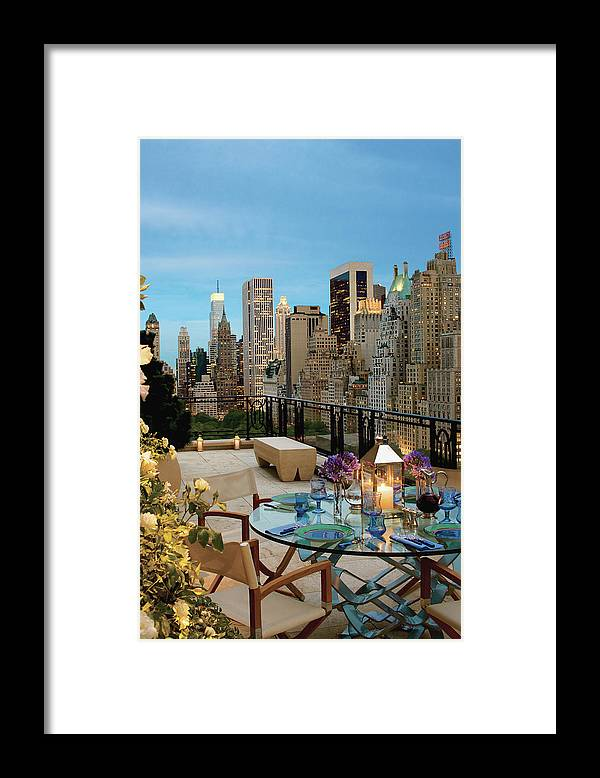 No People Framed Print featuring the photograph Balcony With Dining Table by Durston Saylor