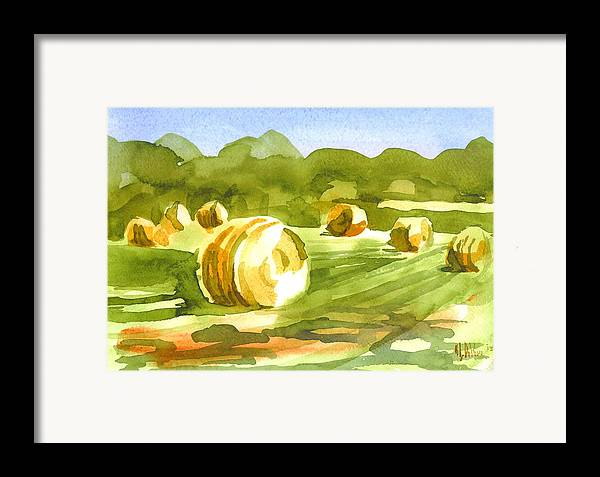 Bales In The Morning Sun Framed Print featuring the painting Bales In The Morning Sun by Kip DeVore