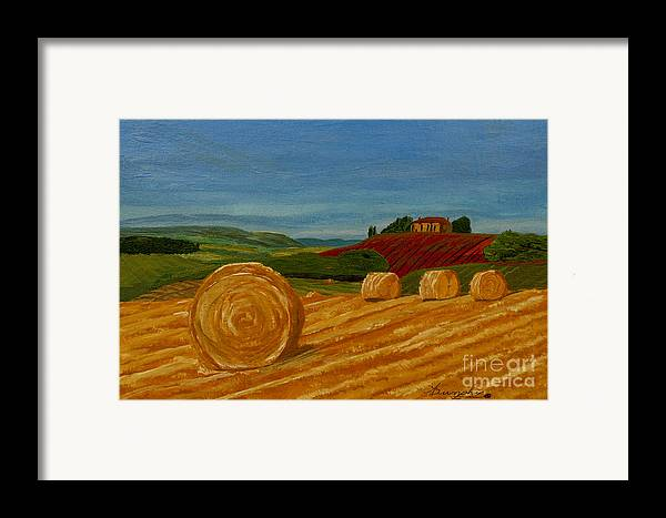 Hay Framed Print featuring the painting Field Of Golden Hay by Anthony Dunphy