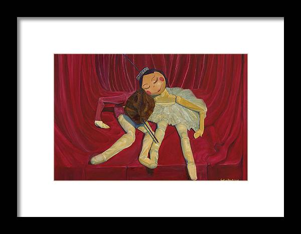 Ballet Framed Print featuring the painting Ballerina And Partner by Dario Pinto