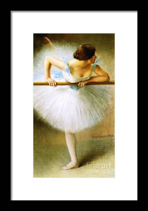 Pd Framed Print featuring the painting Ballerina At The Bar by Pg Reproductions