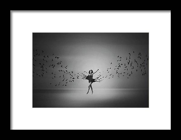 Creative Edit Framed Print featuring the photograph Ballerina Flight Of Birds by Mark Biwit