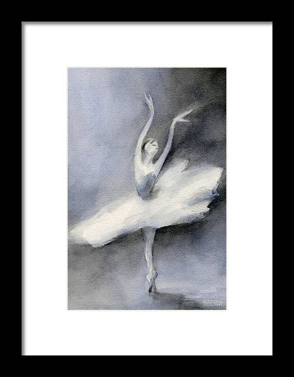 Ballerina In White Tutu Watercolor Painting Framed Print by Beverly ...