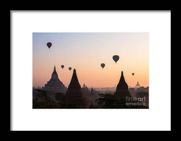 Dawn Framed Print featuring the photograph Ballons Over The Temples Of Bagan At Sunrise - Myanmar by Matteo Colombo