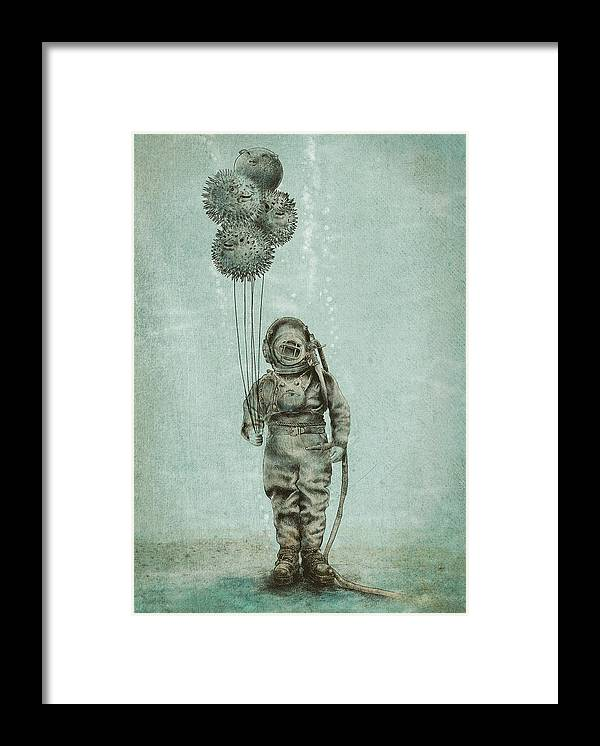 Ocean Framed Print featuring the drawing Balloon Fish by Eric Fan
