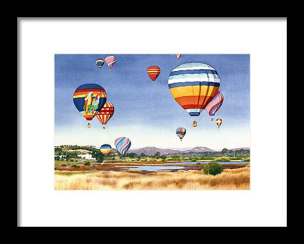 Encinitas Framed Print featuring the painting Balloons over San Elijo Lagoon Encinitas by Mary Helmreich