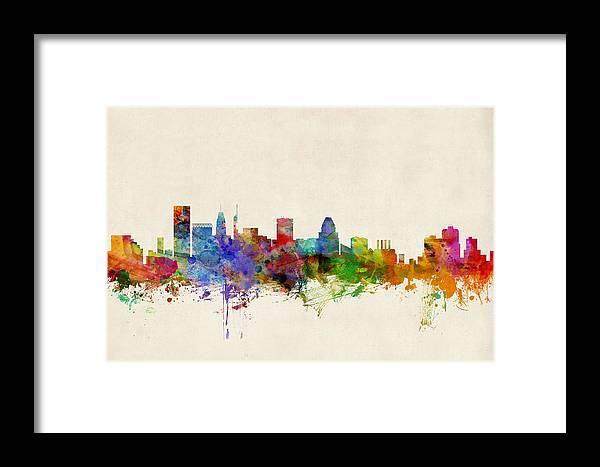 Watercolour Framed Print featuring the digital art Baltimore Maryland Skyline by Michael Tompsett
