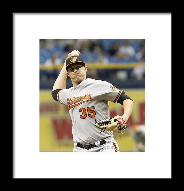 Brad Brach Framed Print featuring the photograph Baltimore Orioles v Tampa Bay Rays by Joseph Garnett Jr.