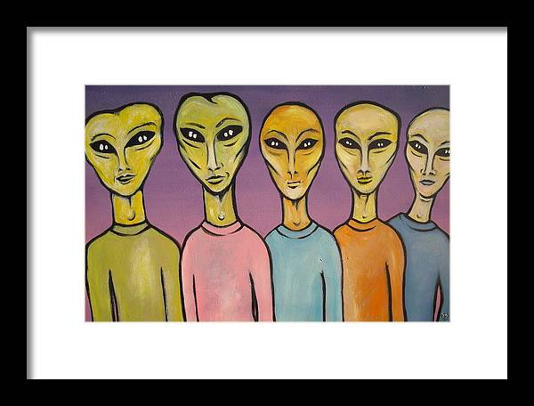 Otherworldly Series - Band Photo Of A Space Rock Band Framed Print featuring the painting Band Of E.t.s by Janine Cooper Ayres