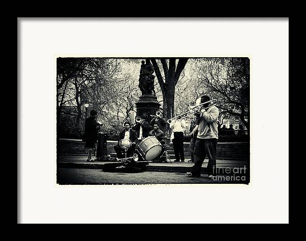 Filmnoir Framed Print featuring the photograph Band On Union Square New York City by Sabine Jacobs