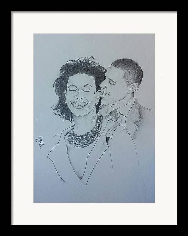 Michelle And Barrack Obama Framed Print featuring the drawing Bandmo by DMo Her