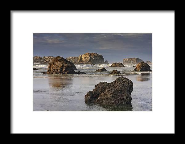 Oregon Framed Print featuring the photograph Bandon Sea Stacks by Mark Kiver