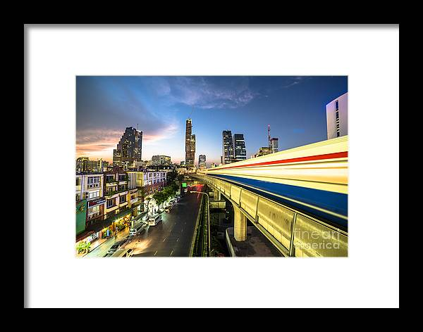 Bts Framed Print featuring the photograph Bangkok Sky Train Rush by Didier Marti