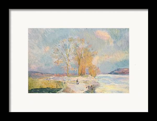Wintry Framed Print featuring the painting Banks Of The Seine And Vernon In Winter by Albert Charles Lebourg