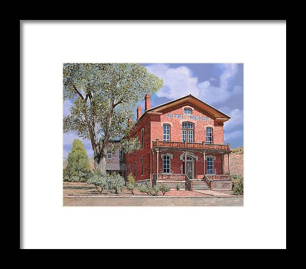 Montana Framed Print featuring the painting Bannock-montana-hotel Meade by Guido Borelli
