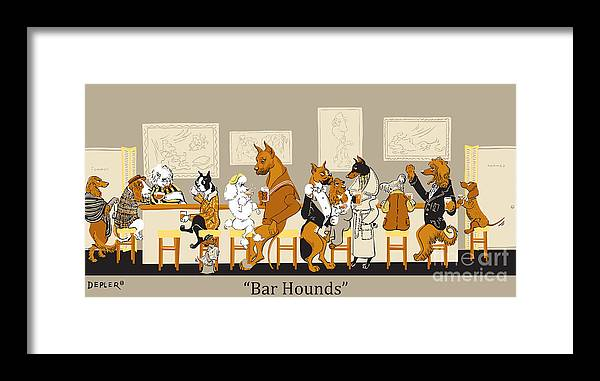 barhounds Framed Print featuring the mixed media Bar Hounds by Constance Depler