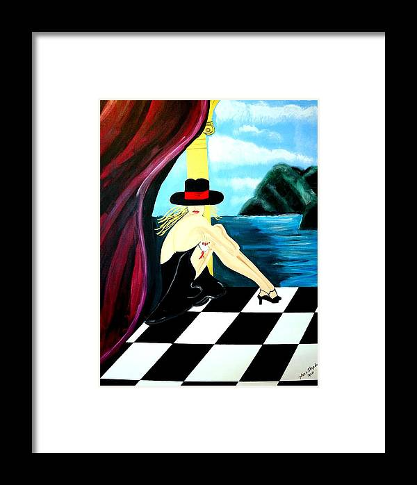 Bar Framed Print featuring the painting Bar Scene Lady With Hat By The Water by Nora Shepley
