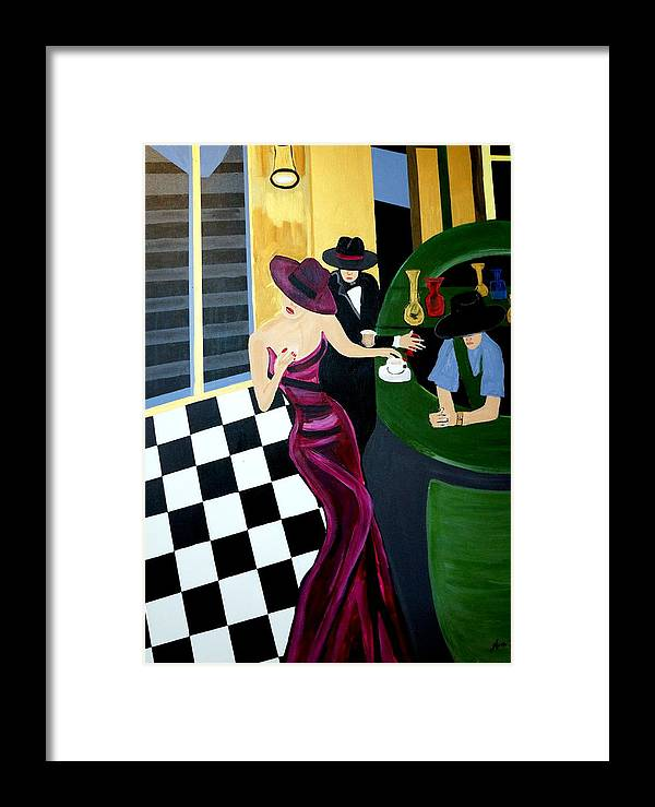 Bar Scene Framed Print featuring the painting Bar Scene Lets Have A Drink by Nora Shepley