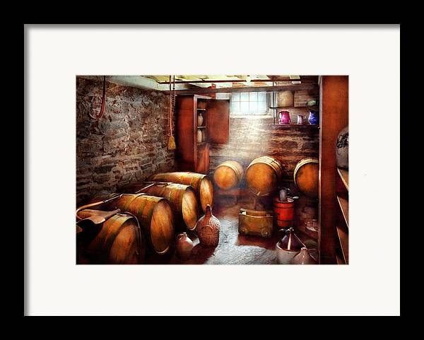Suburbanscenes Framed Print featuring the photograph Bar - Wine - The Wine Cellar by Mike Savad