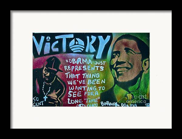 Barack Obama Framed Print featuring the painting Barack And Fifty Cent by Tony B Conscious